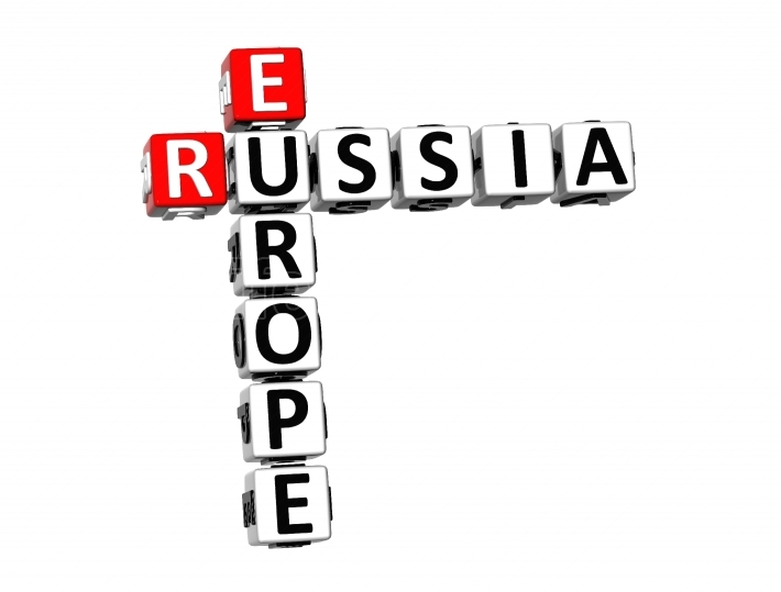 3D Crossword Russia Europe on white background