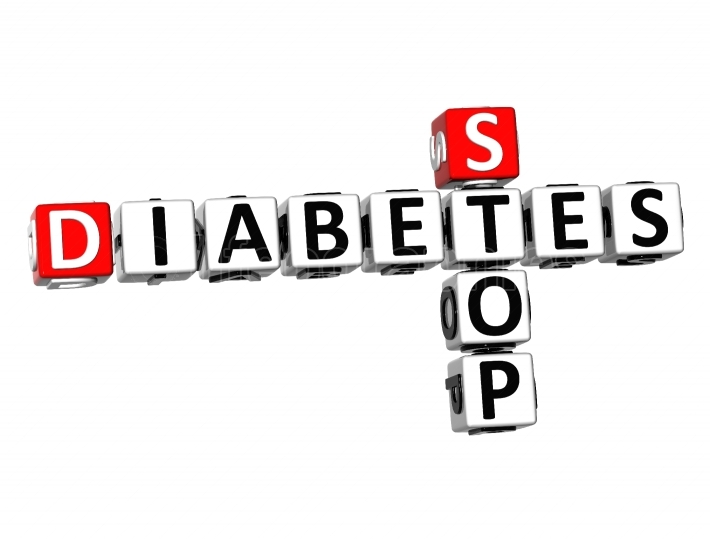 3D Crossword Stop Diabetes on white background