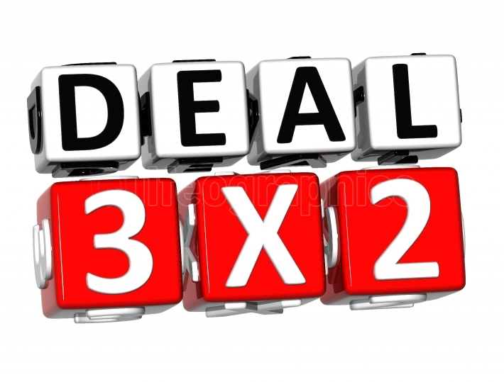 3D Deal Three For Two Button Click Here Block Text