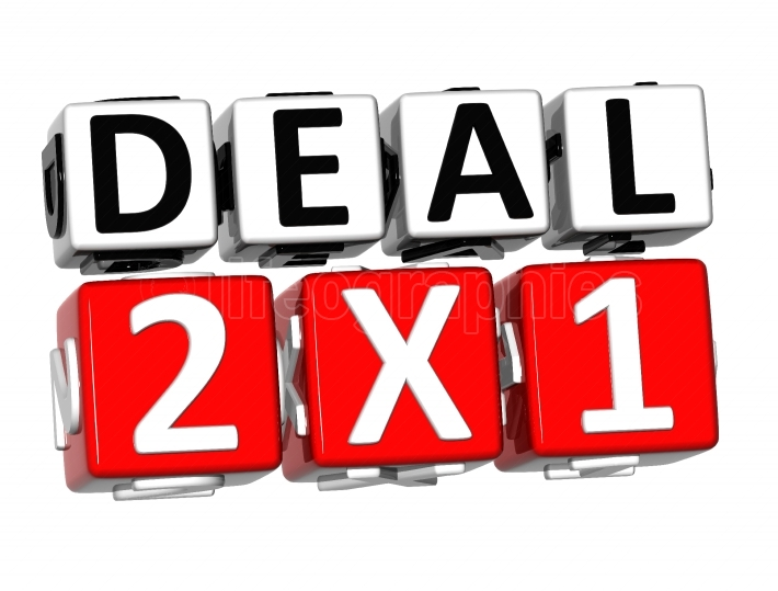 3D Deal Two For One Button Click Here Block Text