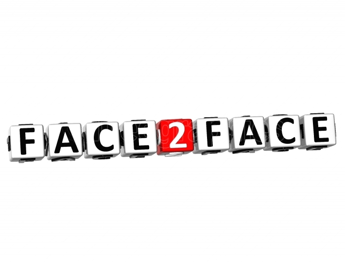 3D Face To Face Button Click Here Block Text
