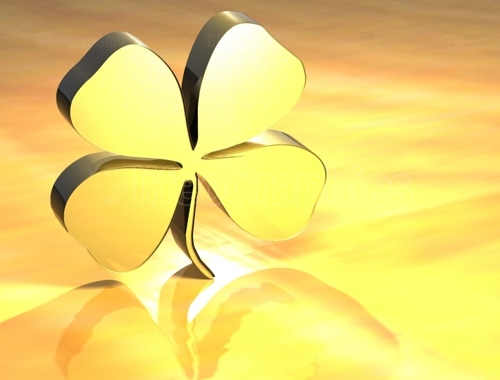 3D Four leaf Clover Gold Sign