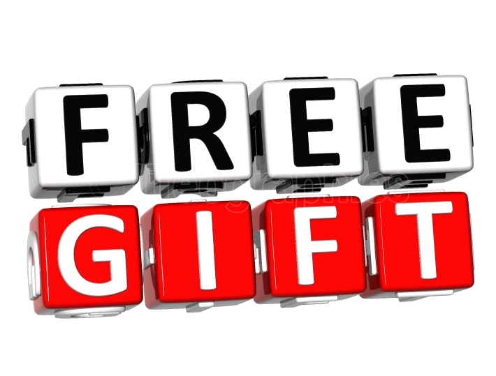 3D Free Gift Button Click Here Block Text