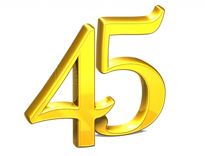 3D Gold Forty Five on white background