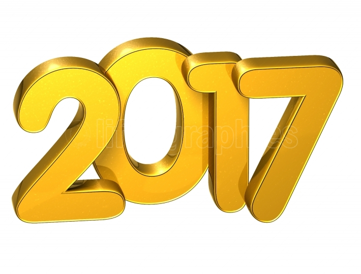 3D Gold Number New Year 2017 on white background