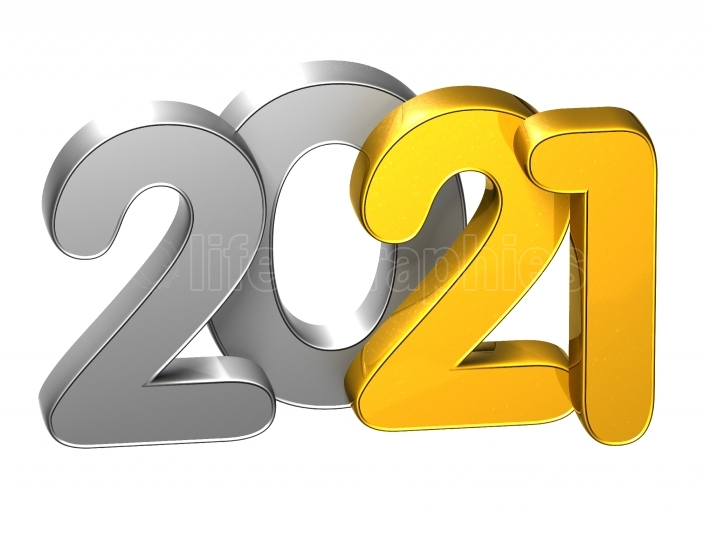 3D Gold Number New Year 2021 on white background