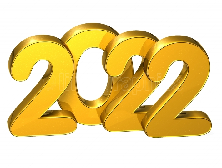 3D Gold Number New Year 2022 on white background