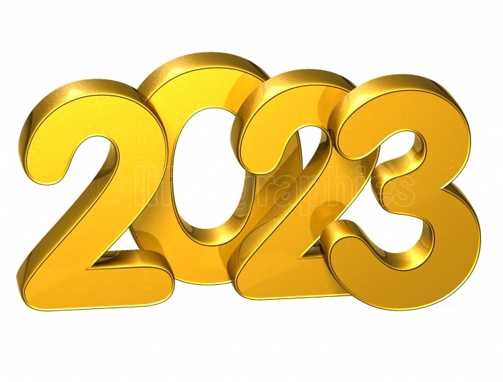 3D Gold Number New Year 2023 on white background