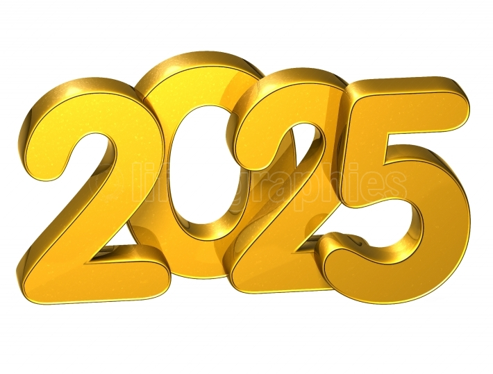 3D Gold Number New Year 2025 on white background