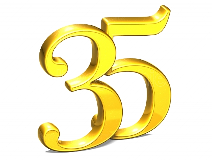3D Gold Thirty Five on white background