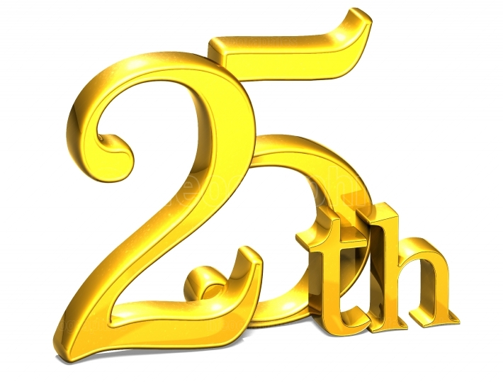 3D Gold Twenty Fifth on white background