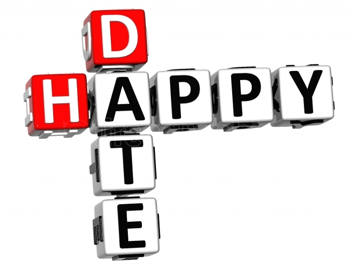 3D Happy Date Crossword on white background