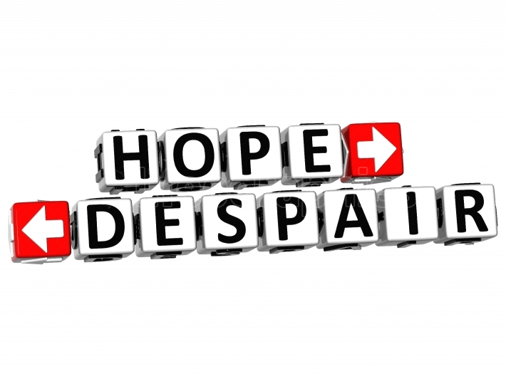 3D Hope Despair Button Click Here Block Text