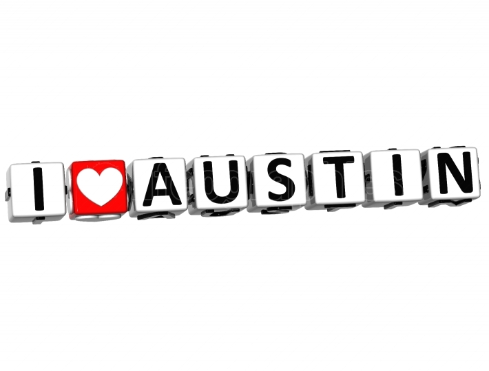 3D I Love Austin Button Click Here Block Text