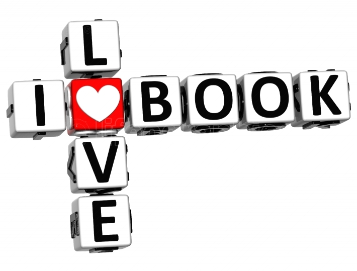 3D I Love Book Crossword Block text