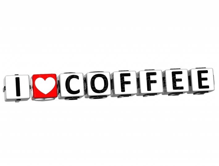 3D I Love Coffee Button Click Here Block Text