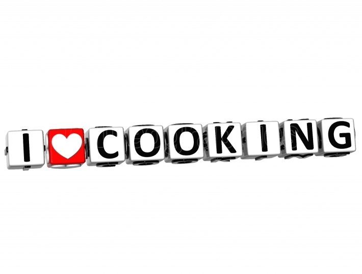 3D I Love Cooking Button Click Here Block Text