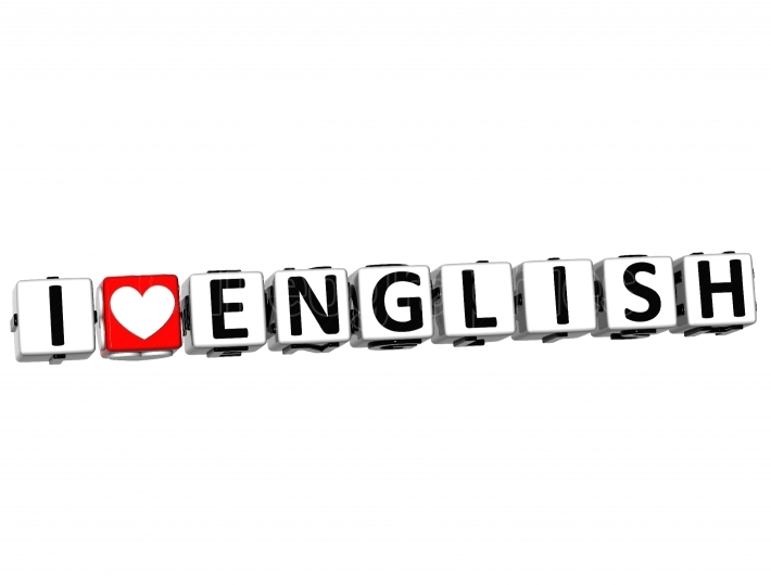 3D I Love English Button Click Here Block Text