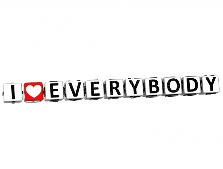3D I Love Everybody Button Click Here Block Text