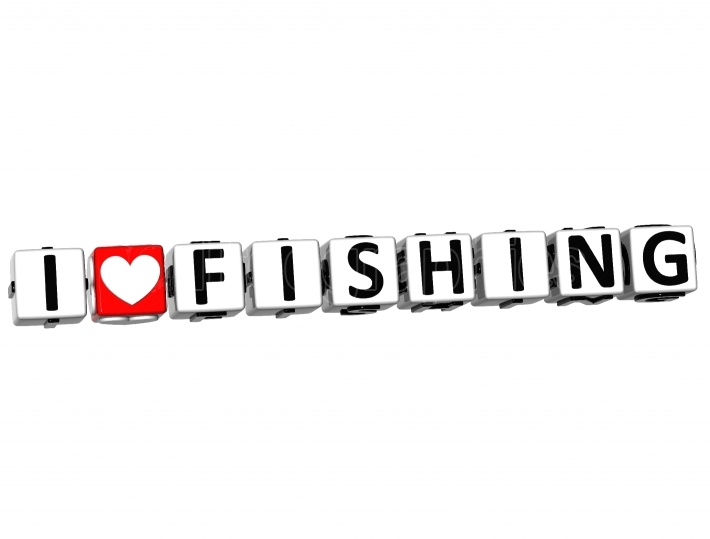 3D I Love Fishing Button Click Here Block Text