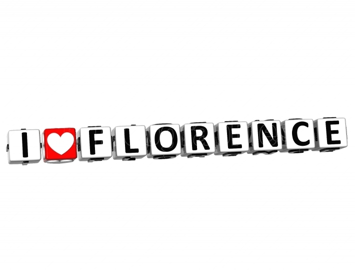 3D I Love Florence Button Click Here Block Text