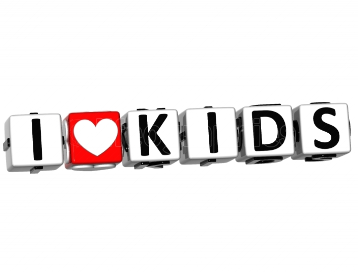 3D I Love Kids Button Click Here Block Text