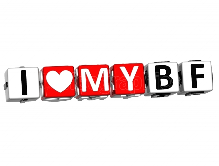 3D I Love My BF Button Click Here Block Text