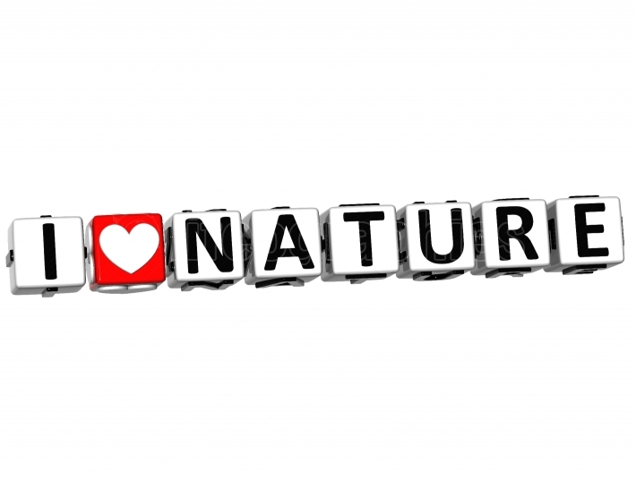 3D I Love Nature Button Click Here Block Text
