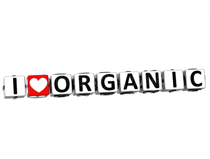 3D I Love Organic Button Click Here Block Text