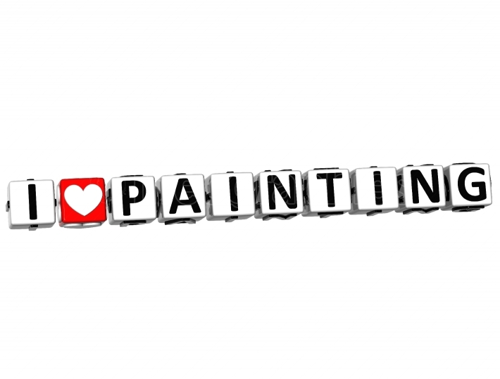 3D I Love Painting Button Click Here Block Text