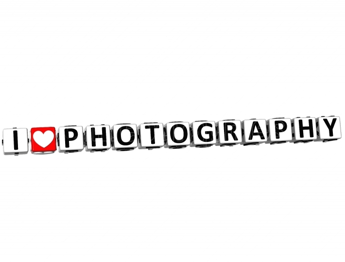 3D I Love Photography Button Click Here Block Text