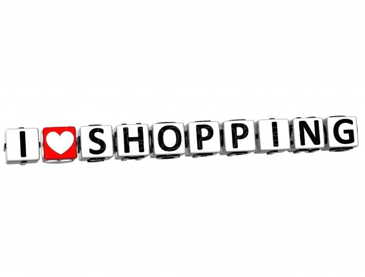 3D I Love Shopping Button Click Here Block Text