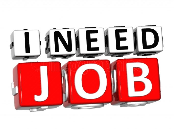 3D I Need Job Button Click Here Block Text