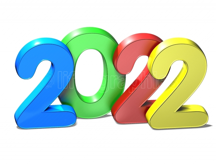 3D New Year 2022 on white background