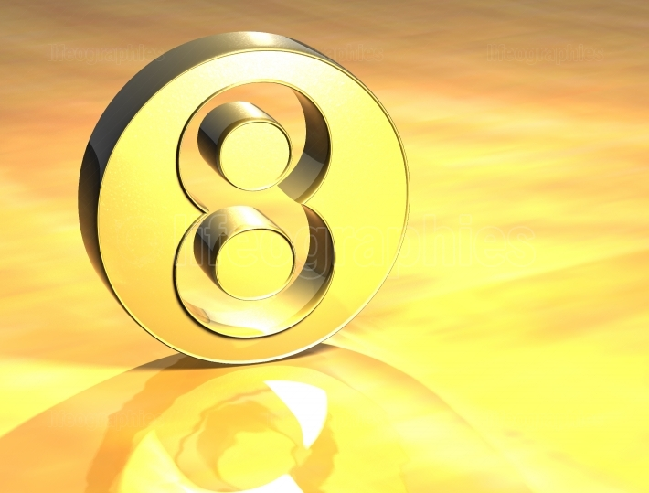 3D Number Gold Sign