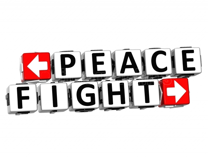 3D Peace Fight Button Click Here Block Text