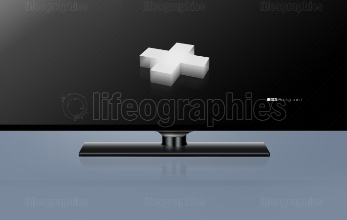 3D plus sign inside modern wide  screen TV concept Series 442