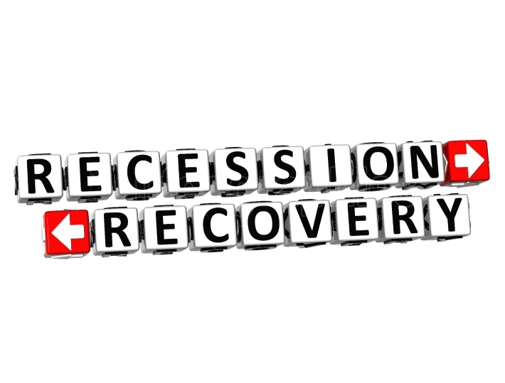 3D Recession Recovery Button Click Here Block Text