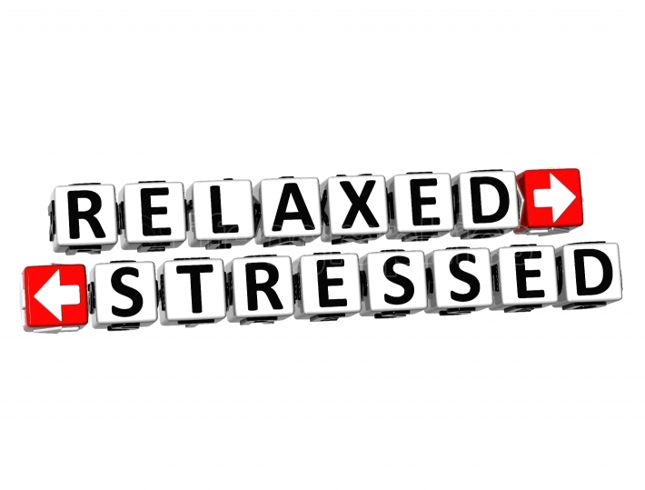 3D Relaxed Stressed Button Click Here Block Text