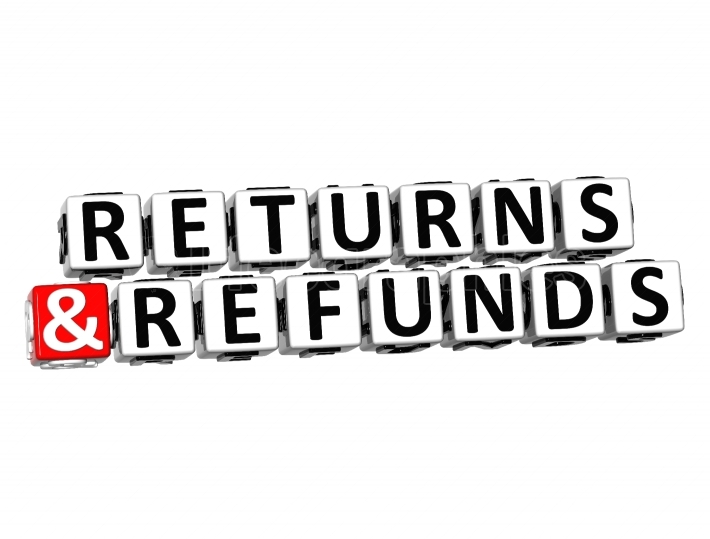 3D Returns And Refunds Button Click Here Block Text