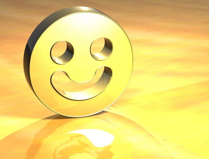 3D Smile Face Gold Sign