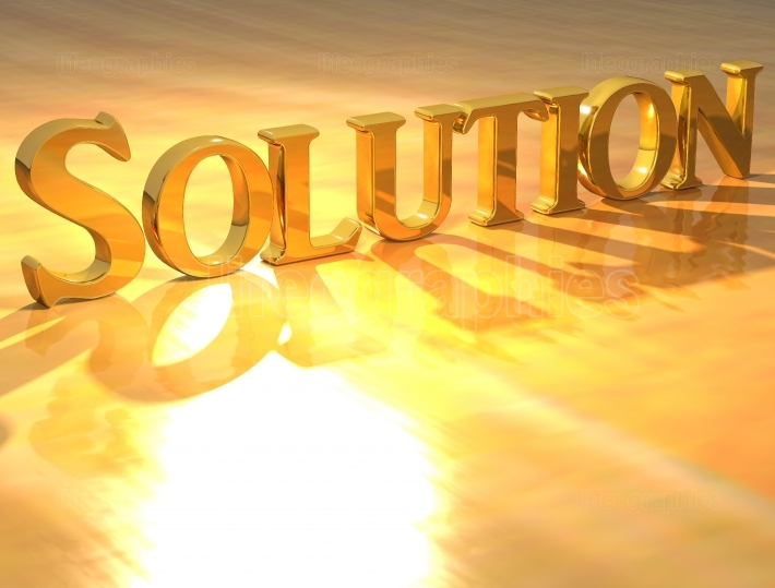 3D Solution Gold text