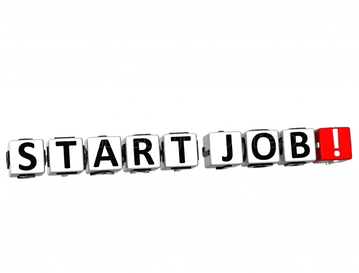 3D Start Job Button Click Here Block Text