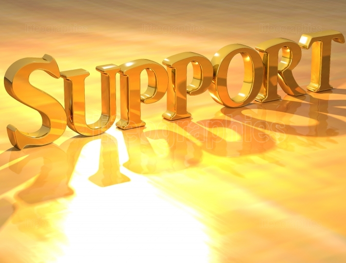 3D Support Gold text