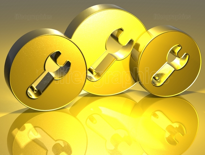 3D Tools Gold Sign