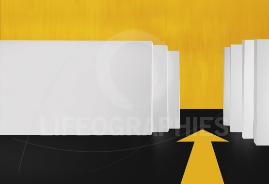 3D White Boards  With Yellow Arrow on Floor