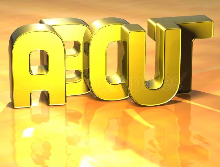 3D Word About on yellow background