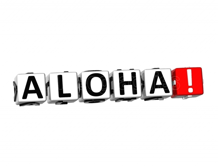 3D Word Aloha on white background