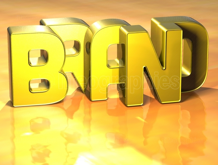 3D Word Brand on yellow background