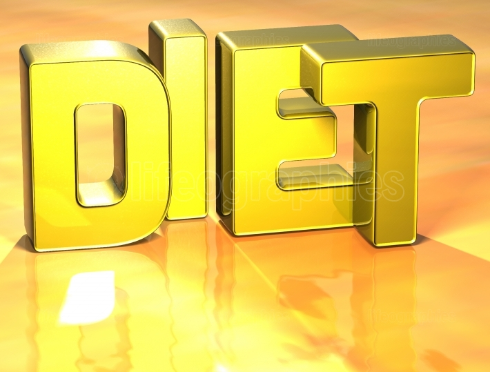 3D Word Diet on yellow background